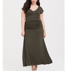 Olive Jersey Maxi Dress